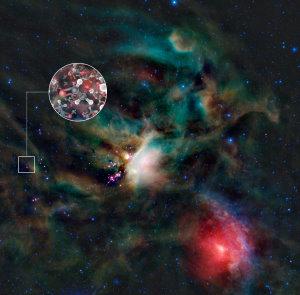 ALMA (ESO/NAOJ/NRAO), L. Cal�ada (ESO), NASA, JPL-Caltech, WISE Team